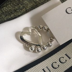 Gucci Sterling Silver Heart Beaded Ring Size 7